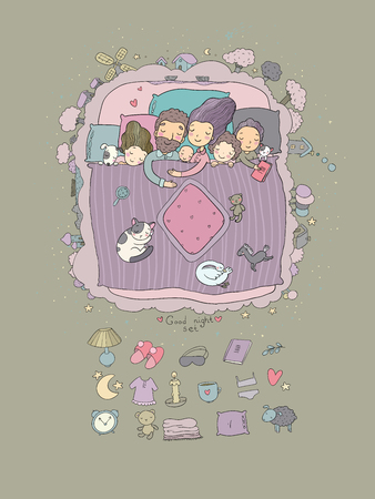 The family sleeps in bed. Cartoon mom, dad and babies. Sweet Dreams. Good night. Bed linen. Funny pets. Illustration for pajamas. Happy children. Archivio Fotografico - 108608224