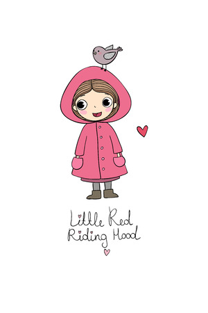 Cute cartoon little girl. Red Riding Hood fairy tale. Hand drawing isolated objects on white background. Vector illustration.