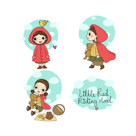 Little Red Riding Hood fairy tale. Little cute cartoon girl . Hand drawing isolated objects on white background. Vector illustration.