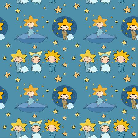 Pattern with dwarfs and stars. Night elfs