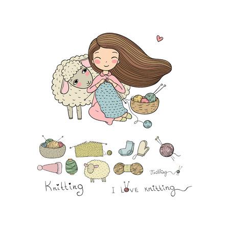 Strickendes Mädchen und ein süßes Cartoon-Schaf. Handgemachte Dinge.