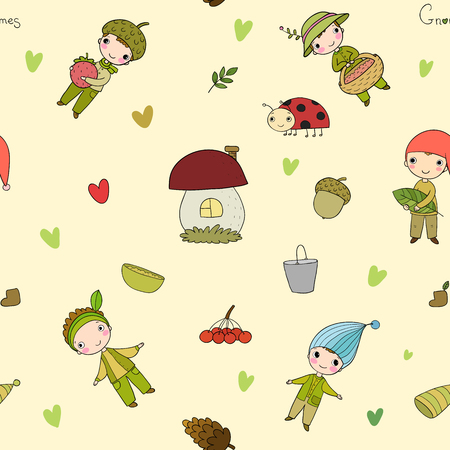 Pattern with cute cartoon gnomes. Vector Illustration