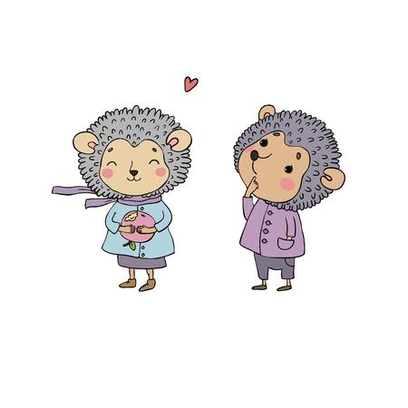 Cute cartoon hedgehog. Funny animals. Happy Zoo Vector Illustration
