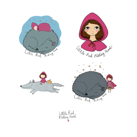 Set with Little Red Riding Hood fairy tale. Little cute cartoon girl and wolf. Hand drawing isolated objects on white background. Vector illustration.