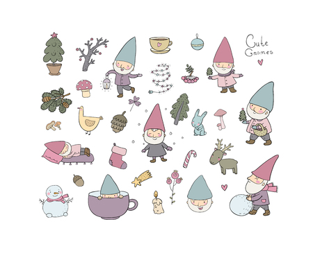 Cute cartoon gnomes. New Year set. Christmas elves. Vector illustration. Happy peoples Illustration