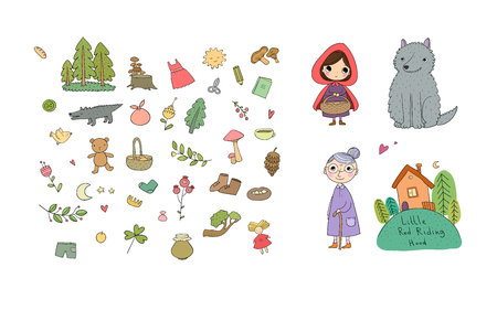 Set with Little Red Riding Hood fairy tale. Vector
