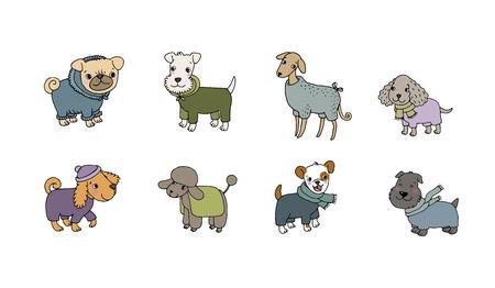 Cute cartoon dog breeds. Happy animals. Vector
