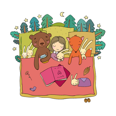 Cartoon girl sleeping in bed. Baby and toys. animals of the forest. Children s tale. Time to sleep. Good night. Vector