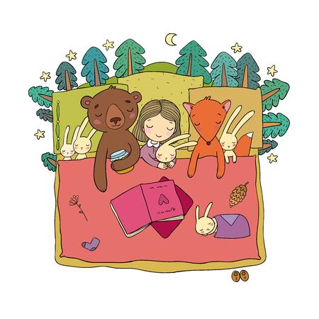 Fille de dessin animé dormant dans son lit. Bébé et jouets. animaux de la forêt. Conte pour enfants. L'heure de dormir. Bonne nuit. Vecteur
