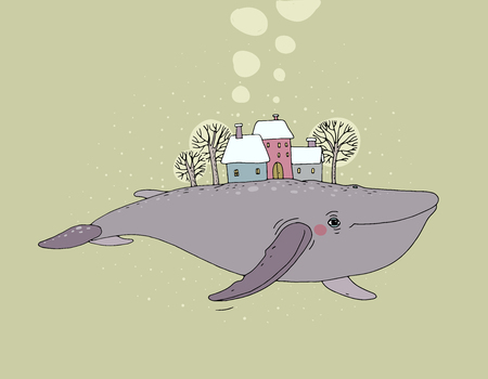 Beautiful cartoon whale and winter landscape. New Year card. Fabulous fish. Vector