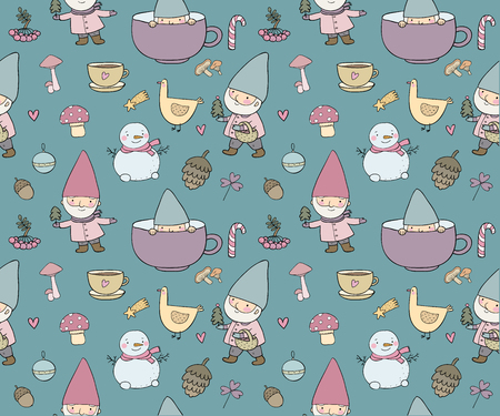 Cute cartoon gnomes. New Year s funny pattern. Christmas elves. Vector illustration. Funny peoples Ilustracja