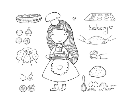 cartoon girl bakes a cake on a white background. cute woman cooks in the kitchen. Small home bakery. Small home bakery. Vector