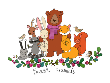 Cute cartoon forest animals. Cheerful bear, fox, cute hare, squirrel and raccoon in the meadow. Vector
