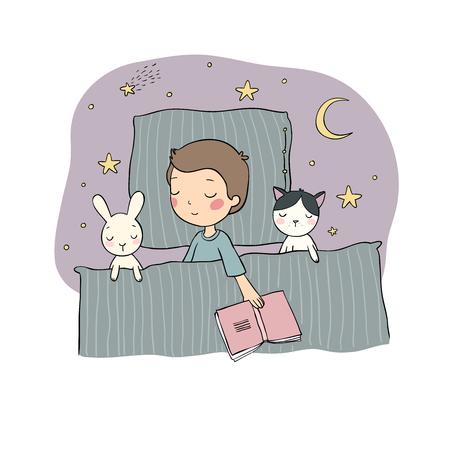 Schlafender Junge. Baby im Bett mit Spielzeug. Zeit zu schlafen. Gute Nacht. Vektor Vektorgrafik