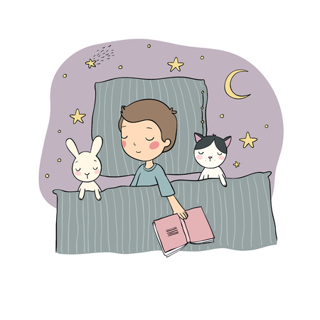 Sleeping boy. Baby in bed with toys. Time to sleep. Good night. Vector Vetores