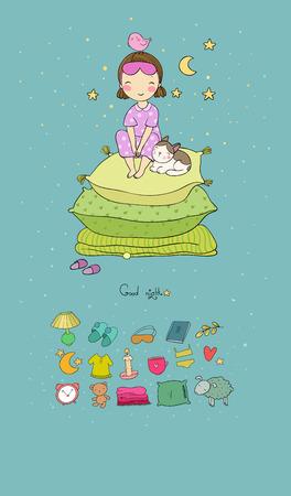 Mädchen und Katzen. Gute Nacht. Süße Träume. Vektor-Illustration. Bettzeit. Isolierte Objekte auf weißem Hintergrund. Bettwäsche. Prinzessin auf der Erbse. Schönes Haustier. Beste Freunde.