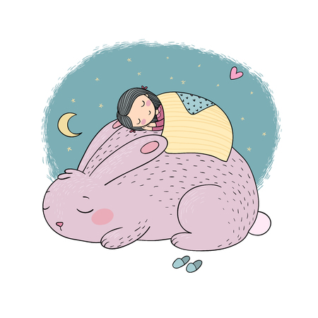 Sleeping Cartoon Girl and Bunny. Good night. Sweet dreams. Vector illustration. bed time. Isolated objects on white background. Illustration