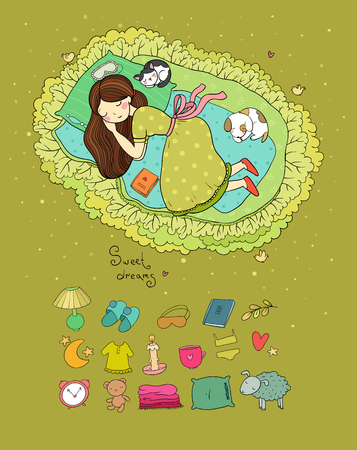 Girl, cats and dog sleep in bed. Good night. Sweet dreams. Vector illustration. bed time.