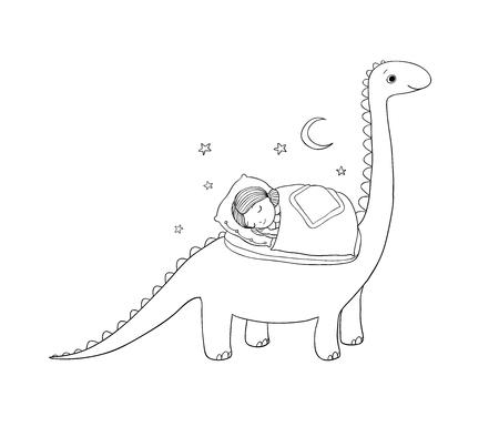 Sleeping girl and dinosaur. Good night sweet dreams. Vector