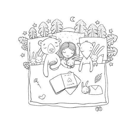 Cartoon girl sleeping in bed. Baby and toys. animals of the forest. Children s tale. Time to sleep. Good night - Vector illustration Stock Illustratie