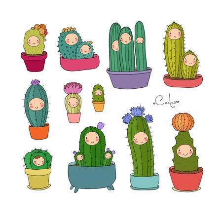 Cute cartoon cactus and succulents in pots. vector illustration. Иллюстрация
