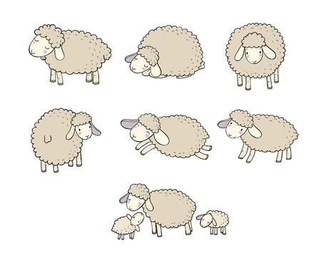 Cute cartoon sheep set. Farm animals. Funny lambs. good night sweet dreams - Vector illustration