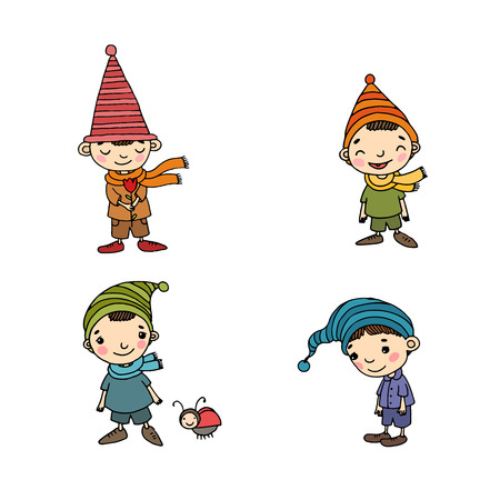 Cute cartoon gnomes. New Year set. Christmas elves. Vector illustration. Happy peoples