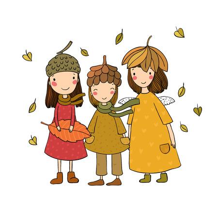 Drei kleine Waldfeen. Cartoon-Elfen. Herbstpostkarte. Drei Schwestern im Kostüm - Vektorillustration