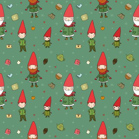 Cute cartoon gnomes. New Year s pattern. Christmas elves. Vector