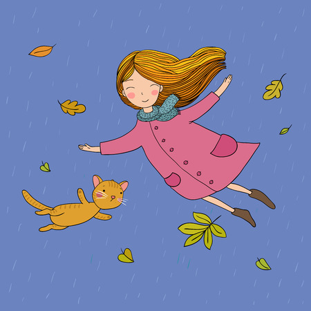 Cute little girl and a cute cartoon cat flying with autumn leaves. Vector illustration. Çizim