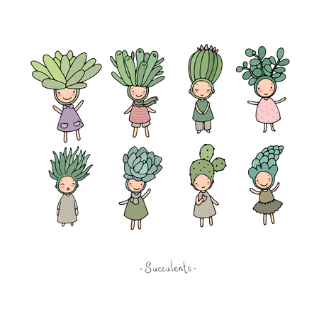 set with cute cartoon succulents. cactus and aloe. Small elves and fairies.