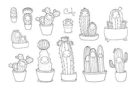 Cute cartoon cactus and succulents in pots. vector illustration.