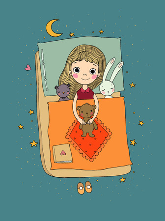 Sleeping girl. Baby in bed with toys. Time to sleep. Good night. - Vector illustration Illustration
