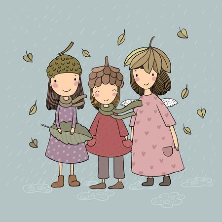 Three small forest fairies. Cartoon elves. Autumn postcard. Three sisters in fancy dress - Vector illustration