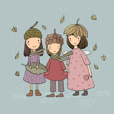 Three small forest fairies. Cartoon elves. Autumn postcard. Three sisters in fancy dress - Vector illustration