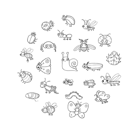 Cute cartoon insects. Funny butterflies, beetles, flies, mosquitoes and snail. Vector Stock Vector - 120662406