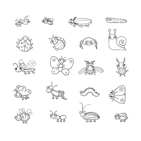 Cute cartoon insects. Funny butterflies, beetles, flies, mosquitoes and snail. Vector Stock Vector - 120662407