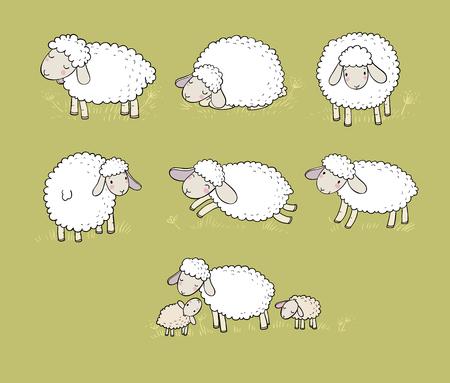 Cute cartoon sheep set. Farm animals. Funny lambs. good night sweet dreams - Vector illustration Stock Illustratie