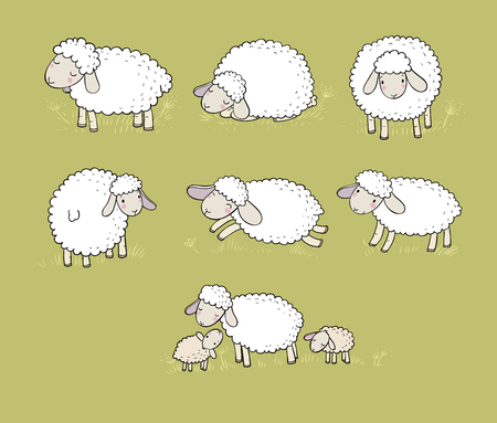 Cute cartoon sheep set. Farm animals. Funny lambs. good night sweet dreams - Vector illustration Illustration