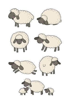 Cute cartoon sheep set. Farm animals. Funny lambs. good night sweet dreams - Vector illustration Çizim