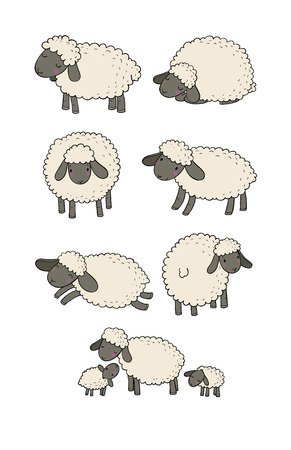 Ensemble de moutons de dessin animé mignon. Animaux de la ferme. Agneaux drôles. bonne nuit fais de beaux rêves - illustration vectorielle Vecteurs