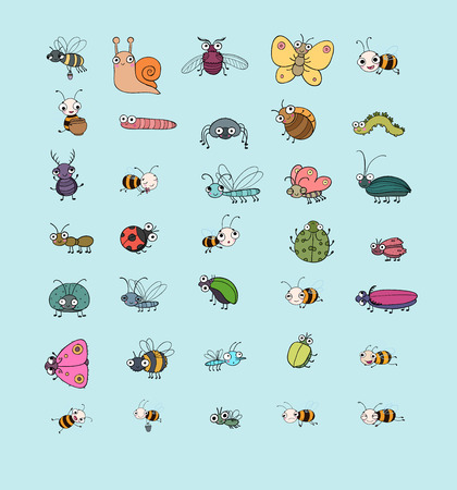 Cute cartoon insects. Funny butterflies, beetles, flies, mosquitoes and snail. Vector Illustration