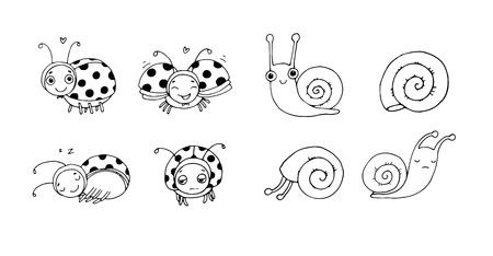 Cute ladybug and snail cartoon. Funny insects set - Vector illustration