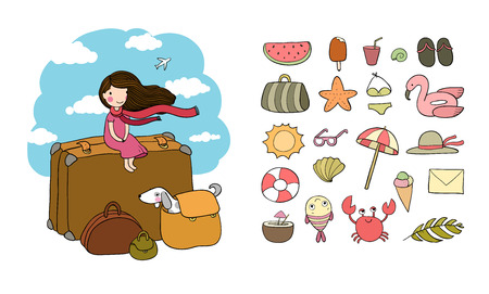 Happy Travel. Cute cartoon girl, dog and suitcases. Bon Voyage Vector illustration Vectores