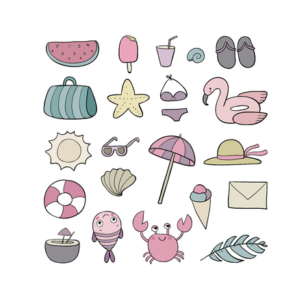 Set for the beach. Summer collection. Cute cartoon things to relax. - Vector Illustration
