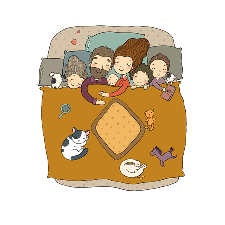 mom, dad and children. Sweet Dreams. Good night. Bed linen. Funny pets. Illustration for pajamas