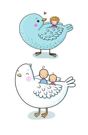 cute cartoon birds and kids. Children s fairy tales - Vector illustration