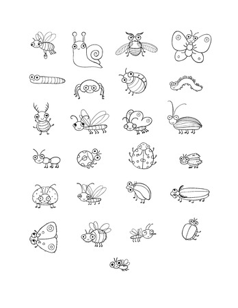Cute cartoon insects. Funny butterflies, beetles, flies, mosquitoes and snail. Vector Stock Vector - 120663596
