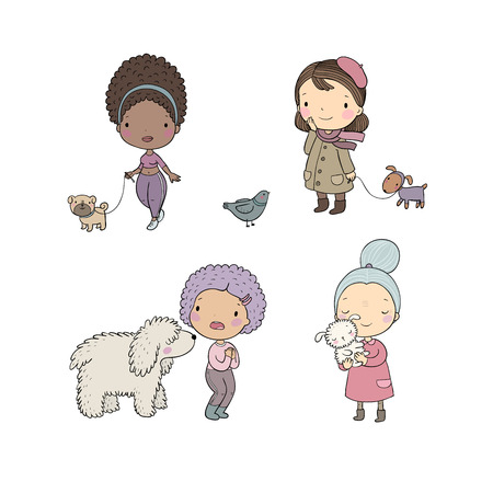 People with pets. Cute cartoon women with dogs. - Vector