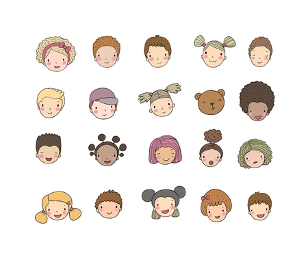Faces of children. Cute cartoon boys and girls of different nationalities. Avatars set of funny kids. - Vector illustration